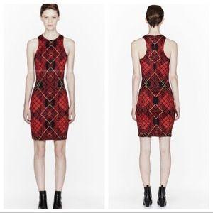 MCQ Women's Red Tartan Print Fitted Dress